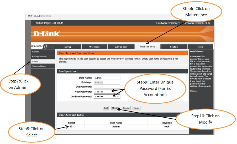 How to change admin password of dlink wifi router